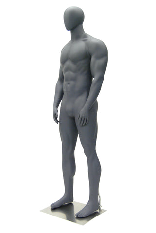 Athletic Egghead Male Mannequin Standing Pose: Matte Grey