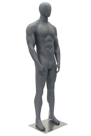 Egghead Male Mannequin in Standing Pose 5: Matte Grey