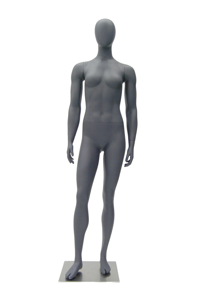 Athletic Egghead Female Mannequin Standing Pose -- Matte Grey
