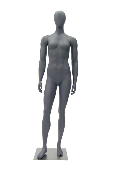Sports Egghead Female Mannequin Standing Pose 1: Matte Grey