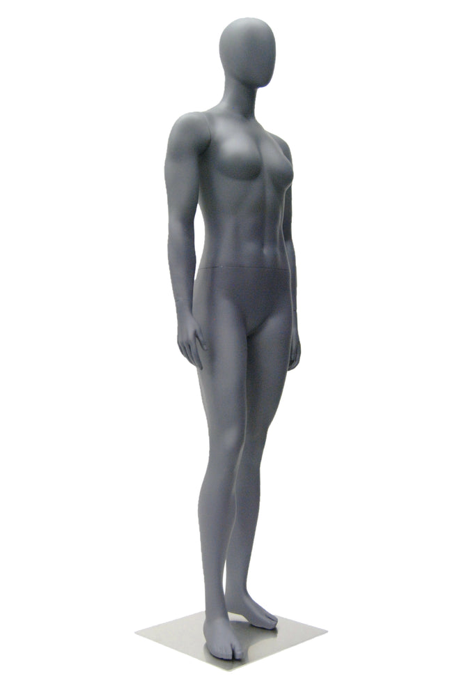 Egghead Female Mannequin in Standing Pose: Matte Grey