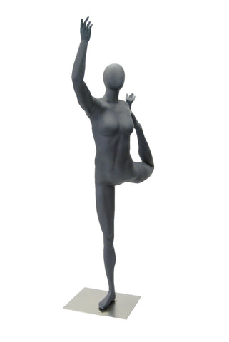 Yoga Egghead Female Mannequin in Dancing Pose: Matte Grey