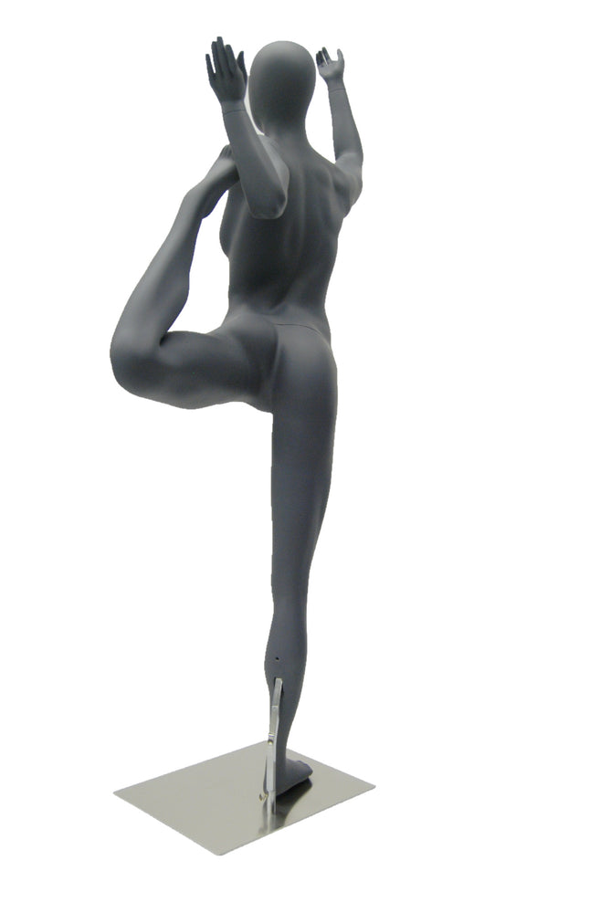 Yoga Egghead Female Mannequin in Dancing Pose: Matte Grey ...