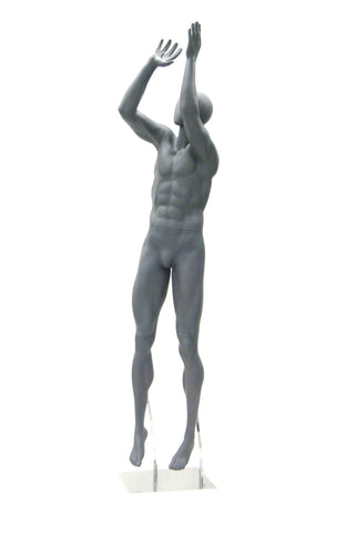 Basketball Playing Egghead Male Mannequin: Matte Grey