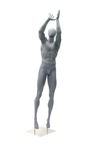 Athletic Egghead Male Mannequin Basketball Jump Shot Pose -- Matte Grey