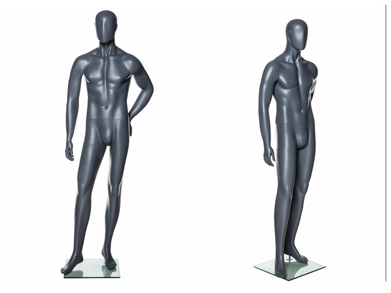 Abstract Male Mannequin in Standing Pose 2 -- Grey