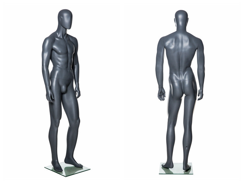 Egghead Male Mannequin in Standing Pose 4: Grey