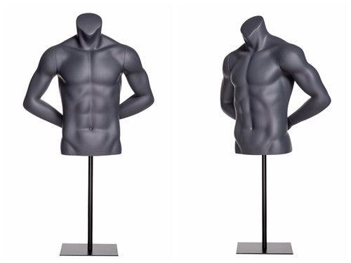 Athletic Headless Male Torso -- Matte Gray