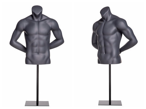 Sports Headless Male Torso: Matte Gray