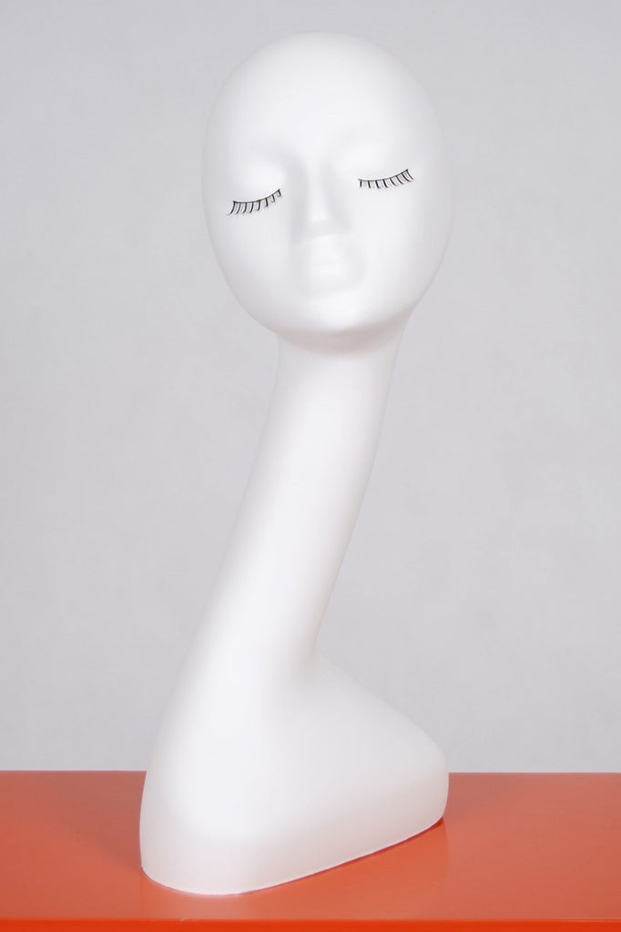 Female Mannequin Head with Elongated Neck: White #1
