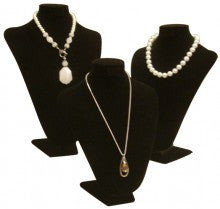 Jewelry Necklace Stand Collection3: Black Velvet, Set of 3