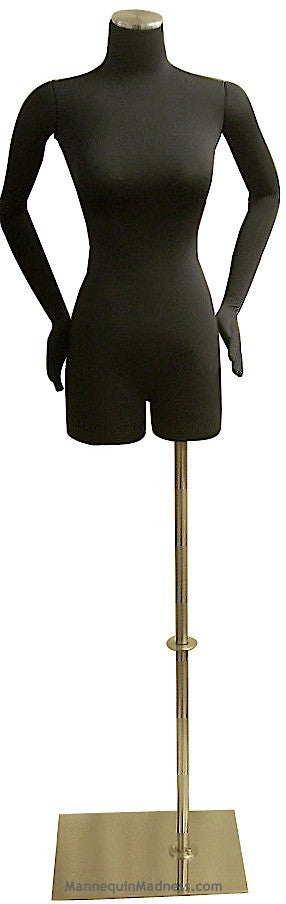 Female Half-leg Body Form with Bendable Cloth Arms: Black Jersey