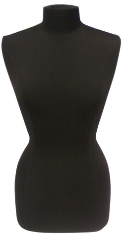 Black Jersey with Round Black Wood Base: Female French Dress Form