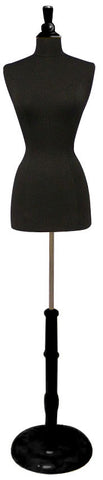 Female French Dress Form -- Black Jersey with Round Black Wood Base