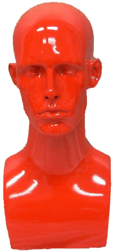 Donny: Male Mannequin Head in Glossy Red