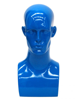 Donny: Male Mannequin Head in Glossy Blue