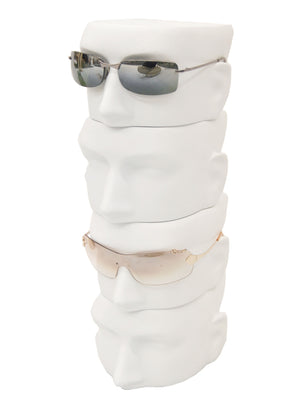 White Eyeglasses Display Head: 4-Pack Male