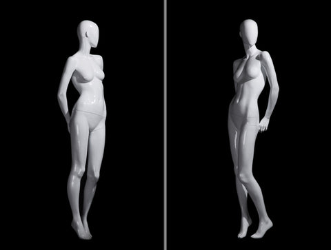 Andrea 1: Female Egghead Mannequin in Glossy White