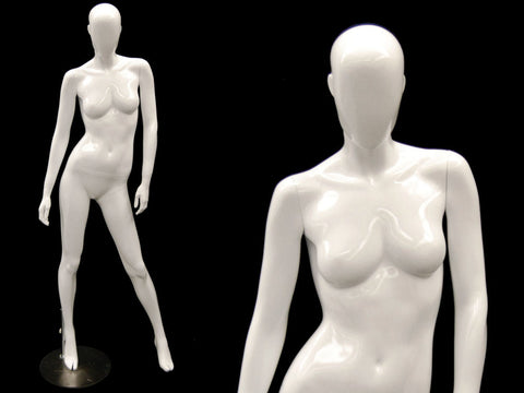Andrea 2: Female Egghead Mannequin in Glossy White