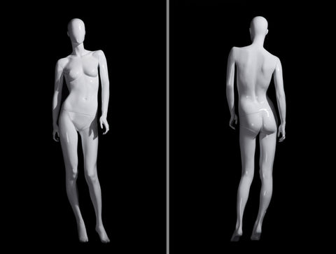 Andrea 3: Female Egghead Mannequin in Glossy White