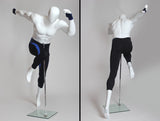 Egghead Male Mannequin in Running Pose -- Matte White Or Chocolate