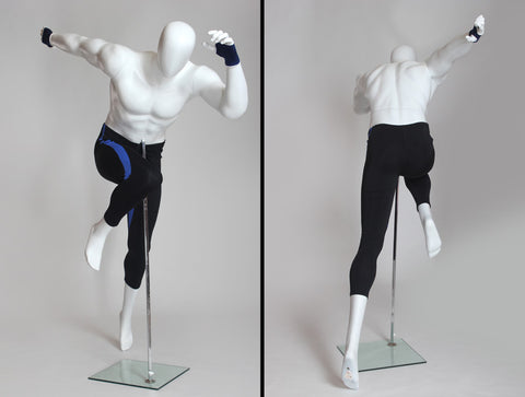 Egghead Male Mannequin in Running Pose -- Matte White