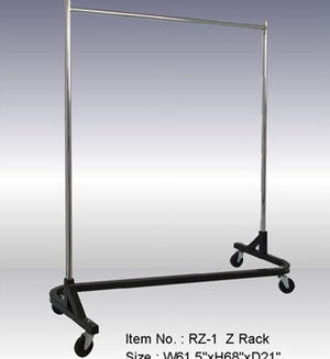 Rolling Garment Rack with Square Tubing: Single Hangrail