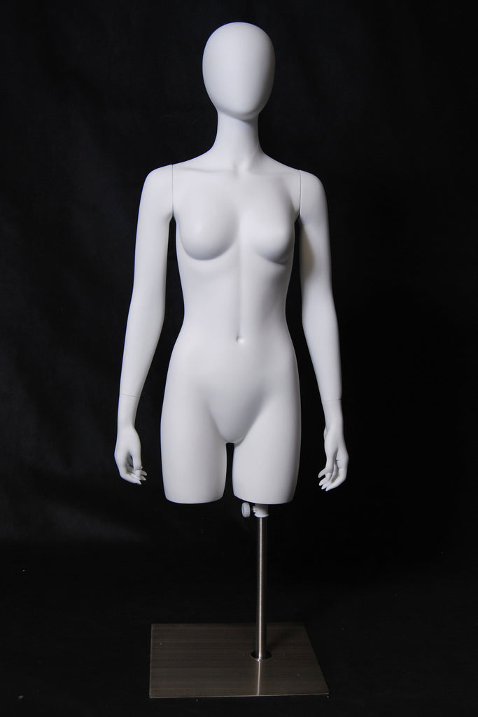 Egghead Female 3/4 Torso with Arms -- Matte White