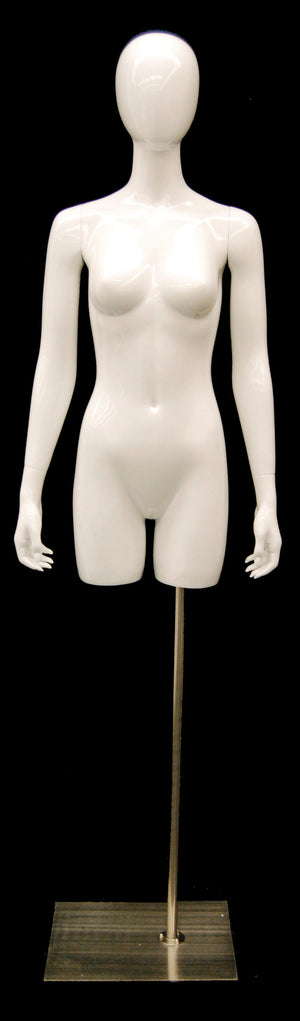 Egghead Female Half-leg Torso with Arms: Glossy White