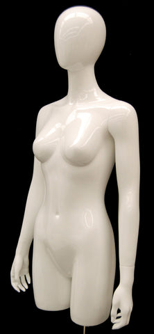 Egghead Female 3/4 Torso with Arms: Glossy White