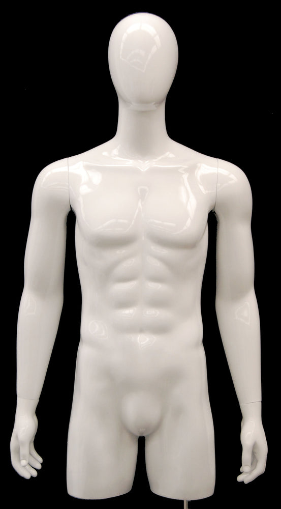 Egghead 3/4 Male Torso with Head and Arms: Glossy White