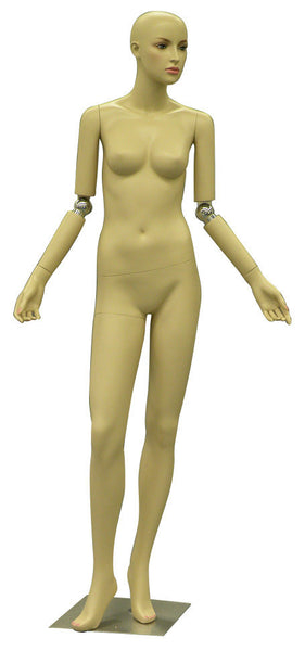 Female Realistic Mannequin With Bendable Arms Facing Sideways