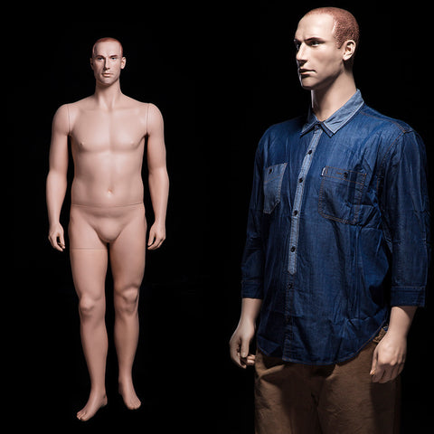 Big and Tall Realistic Mannequin: Molded Hair