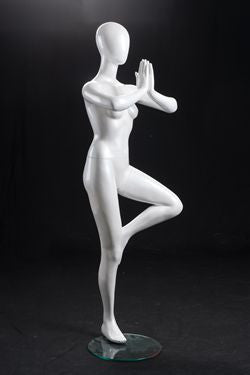 Yoga Egghead Female Mannequin in Tree Pose: Pearl White