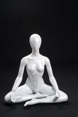 Yoga Egghead Female Seated Mannequin -- White Matte