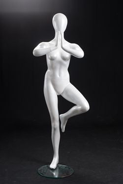 Yoga Egghead Female Mannequin in Tree Pose #1 : Pearl White