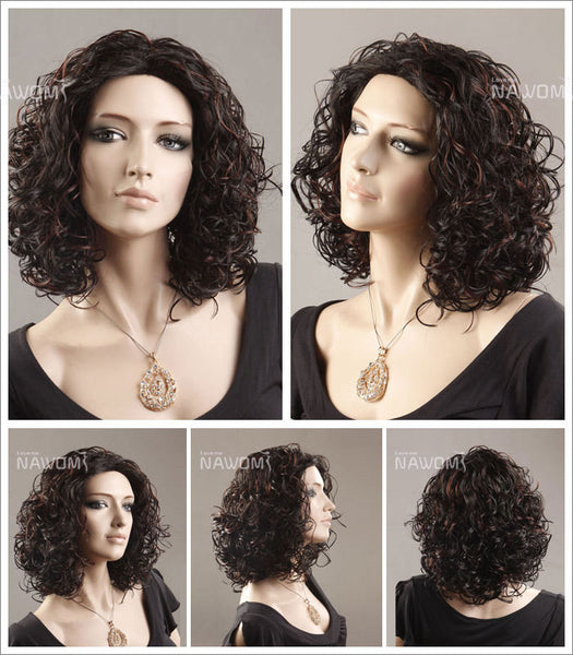 Female Wig: Dark Brown Curly Hairdo