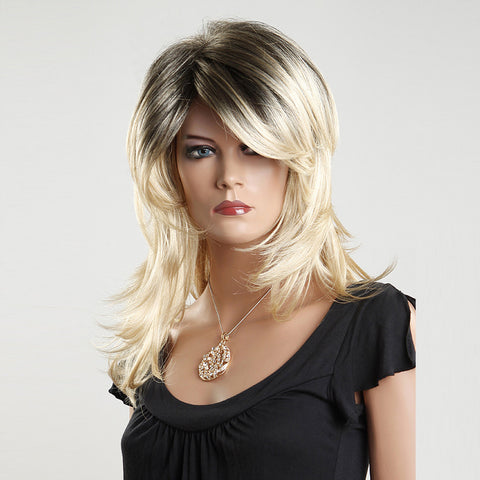 Female Wig: Blond & Black Layered Long Hair