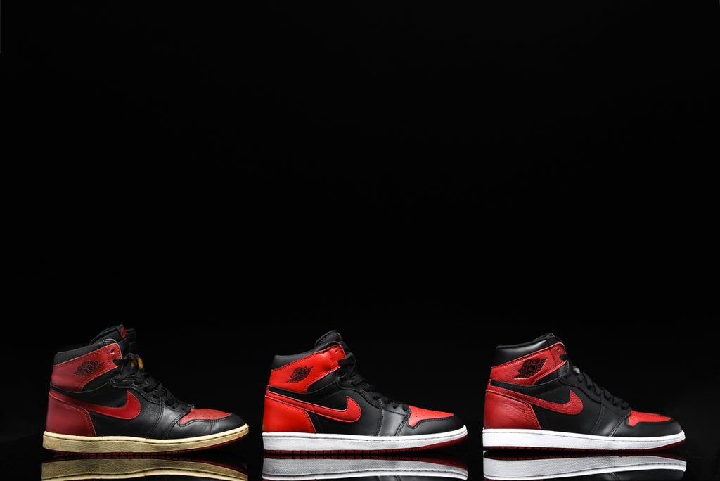 91fbd52d6353 AIR JORDAN 1 BRED THROUGH THE YEARS  1985 VS. 2001 VS. 2016