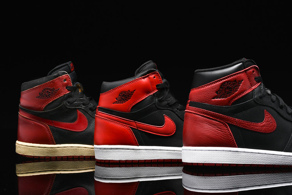 AIR JORDAN 1 BRED THROUGH THE YEARS  1985 VS. 2001 VS. 2016  52e156d86d21