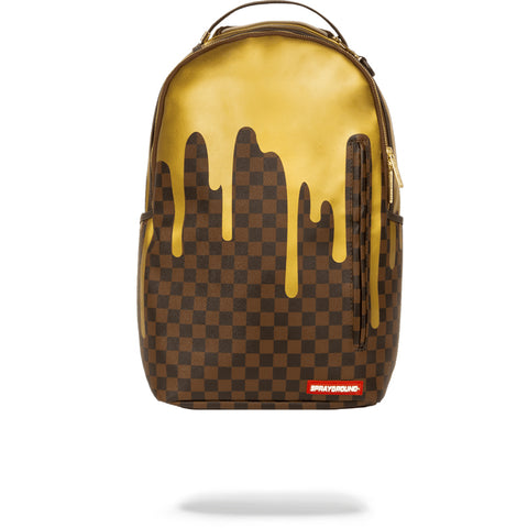 GOLD CHECKERED DRIPS  BACKPACK - GOLD