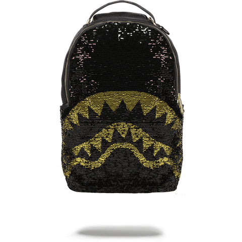GOLD SEQUIN SHARK BACKPACK - BLACK/GOLD