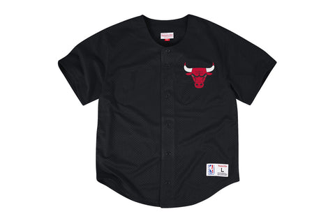 NBA MESH BUTTON FRONT JERSEY - BULLS LOGO BLACK