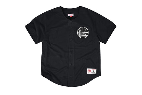 NBA MESH BUTTON FRONT JERSEY - WARRIORS LOGO BLACK