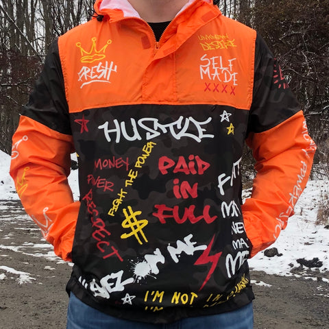 COLOR BLOCK GRAFFITI WINDBREAKER - ORANGE