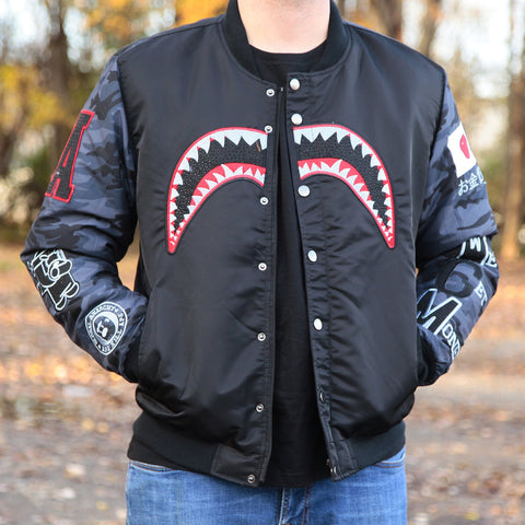 SHARK BITE BOMBER JACKET - BLACK