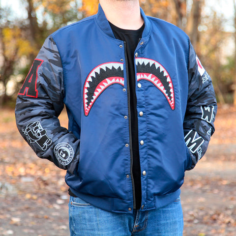 SHARK BITE BOMBER JACKET - NAVY