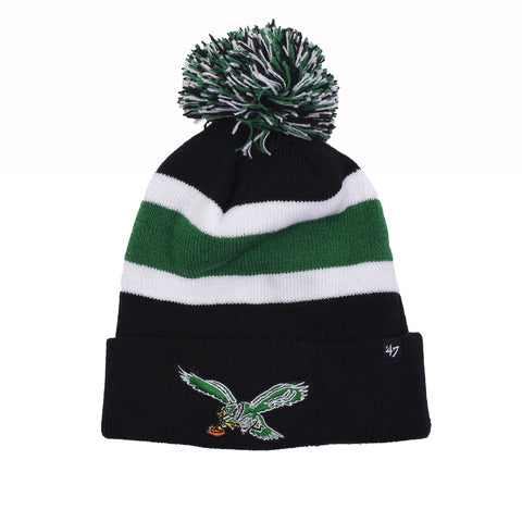 EAGLES TRIPLE STRIPE LOGO CUFF KNIT HAT - BLACK / GREEN / WHITE