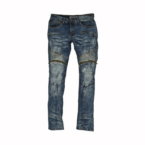 DISTRESSED MOTO JEANS - MEDIUM BLUE