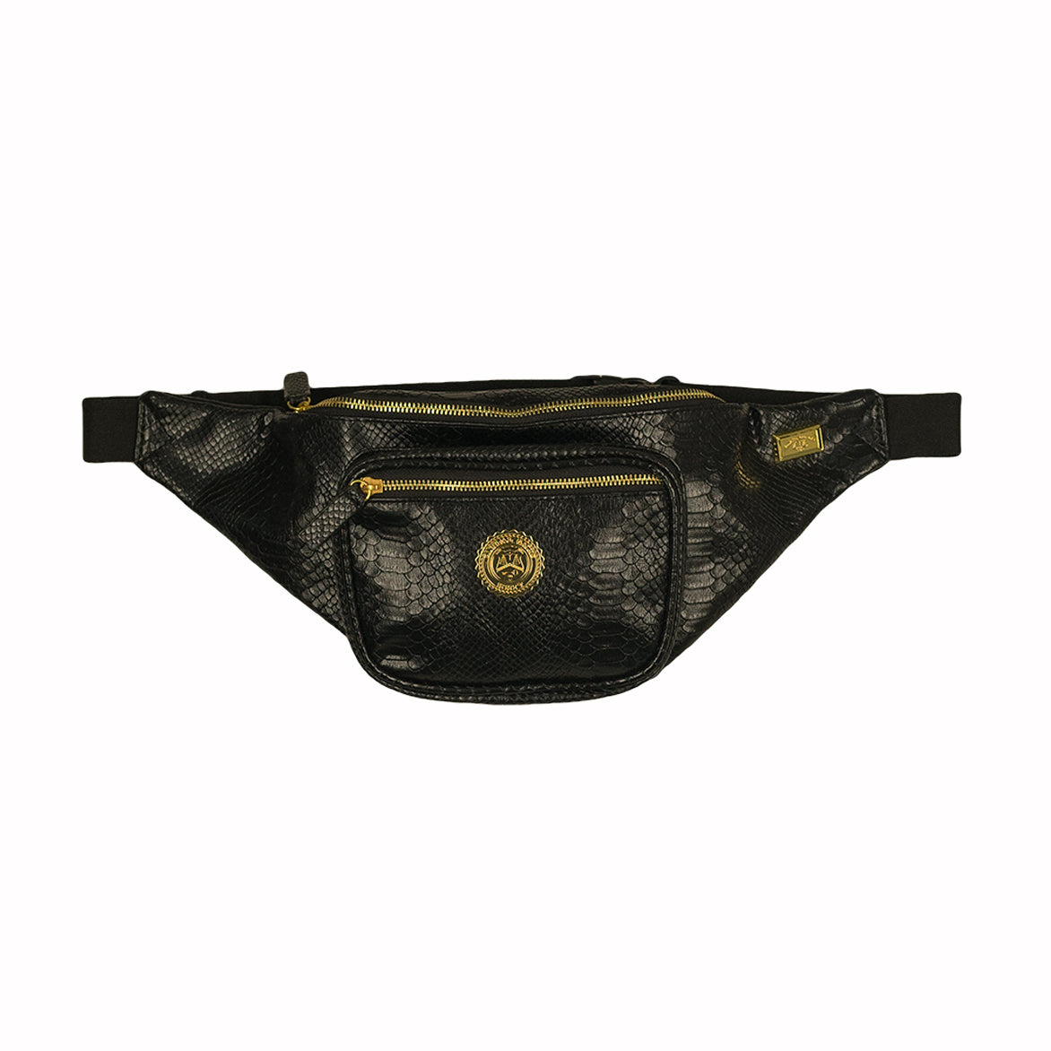 EMBOSSED GATOR SKIN FANNY PACK - BLACK / GOLD